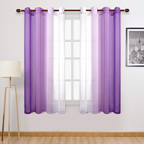DWCN Faux Linen Ombre Sheer Curtains - Gradient Semi Voile Bedroom and Living Room Curtains, Set of 2 Grommet Top Window Curtain Panels, 52 x 63 Inch Length, Purple