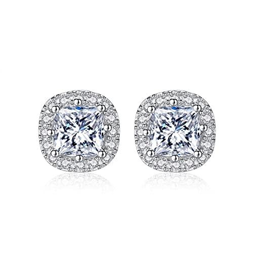 WLLLTY Pendientes Mujer, Pendientes de botón de Compromiso de Boda con Gema de Diamante de Moissanite de Plata de Ley 925