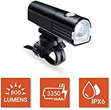 BikeSpark Ultra Bright Front Light F3-800 lm Super Bright LED Bike Headlight - USB Rechargeable LG 3350mAh - Water Resistant IPX6 - Fast Installation and Light Projection Angle Adjustable
