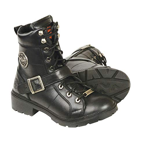 Milwaukee Leather MBL9325 Women's Black Lace-Up Leather Boots with Side Zipper - 8.5