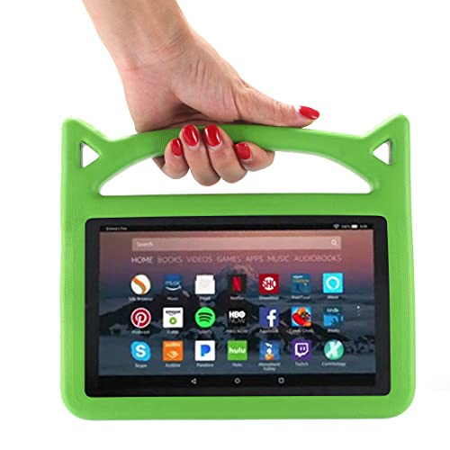 YJHY Fire Hd 10 Tablet Case 2021 Release - for All-New Kindle Fire HD 10 & Fire HD 10 Plus Tablet - Kids Friendly Heavy Duty Shockproof EVA Case Convertible Stand (Green)