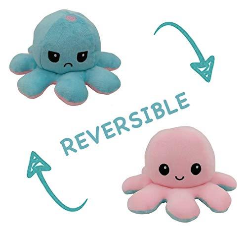 Peluche de Pulpo Reversible-Bonitos Juguetes de Peluche, muñeco de peluche juguetes creativos el Pulpo Reversible Original de Felpa Regalos de Juguete para niños,cumpleaños Navidad (Azul claro + Rosa)