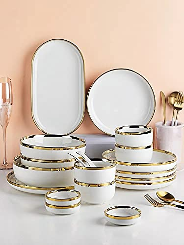 White Porcelain Plates for Food Dishes with Golden Rim Salad Soup Bowl Ceramic Plates and Bowls Set Service for 2/4/6/8 Person