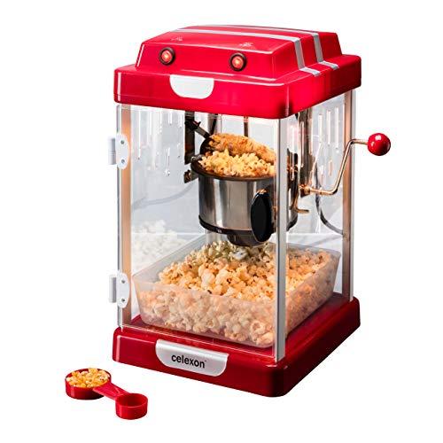 celexon máquina de Palomitas de maíz con Caldera de Acero Inoxidable y un agitador Integrado CinePop CP1000-24,5 x 28 x 43cm - Rojo/Retro/Cine