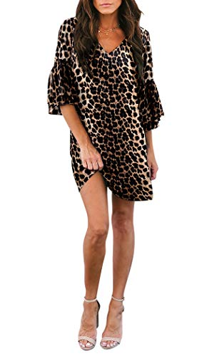 BELONGSCI Women's Dress Sweet & Cute V-Neck Bell Sleeve Shift Dress Mini Dress (Leopard Print, XS)