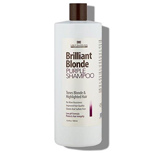 Brilliant Blonde Purple Shampoo 33.8 oz (1000 ml). Tones Blonde & Highlighted Hair. Low pH Formula, Sulfate Free, Gluten Free