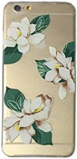DECO FAIRY Compatible with iPhone 6 Plus / 6s Plus, Natural White Flowers Nature lover flora Green Leaves Series Transparent Translucent Flexible Silicone Cover Case