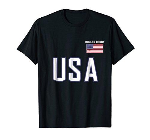 USA Flag Roller Derby Shirt Pocket Skateboard Jersey Gift