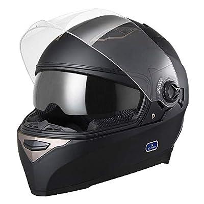 AHR Run-F DOT Motorcycle Full Face Helmet Dual Visors Lightweight ABS Air Vent Motorbike Touring Sports