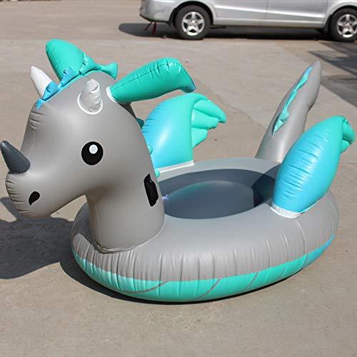 Piscina Inflable Juguetes Inflables Dinosaurio Piscina Flotador Ride-On Unicornio Natación Anillo para Adultos Y Niños De Juguete De Días Festivos Agua Verano Blue gray-220 * 160 * 120cm