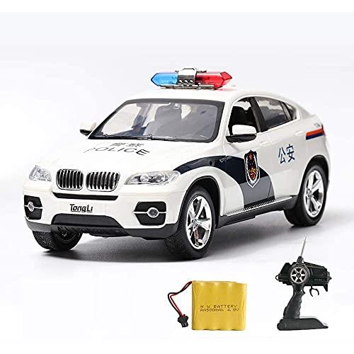 BHJH7 Control Remoto Off-Road Police Car Vehículo de Control Remoto Radio-Control Racing-Cars Simulación Modelo Sirena Sonido Resistencia a caídas Juguete para niños