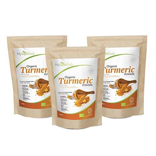 MySuperfoods Organic Turmeric Powder (3x500g), Natural Source of Curcumin
