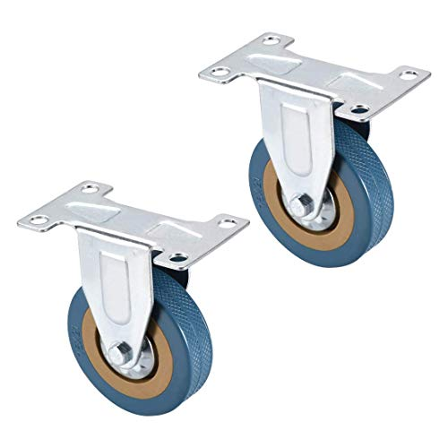 YeVhear 3 Zoll PVC-Rollen mit oberer Platte, 88 lb, für Möbelwagen, Blau, 2 Stück