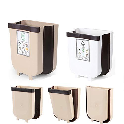 2 Piezas Cubos de Basura Cocina Plegable,Contenedor De Basura Colgante Plástico, Extraible Pequeño Bote de Basura Montado En La Pared, para Automóvil Coche Oficina Baño Dormitorio, Capacidad 7L+5L