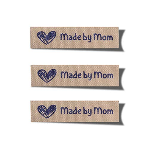 Wunderlabel Made by Mom Mother Crafting Art Fashion Woven Ribbon Ribbons Cotton Tag for Clothing Sewing Sew on Clothes Garment Fabric Heart Embroidered Label Labels Tags, Blue on Cream, 25 Labels