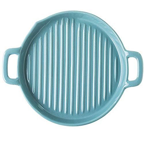 Tonwaren Maler Teller Fisch Platte Bodenplatte Steak-Platte Tablett mit Griff (1 Satz von 2 Stück) (Color : Blue)
