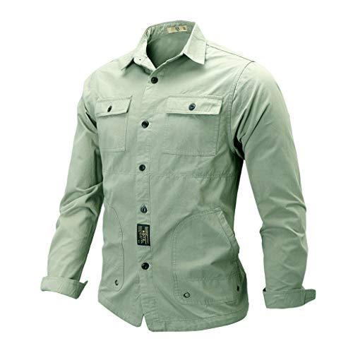 VRTUR Hemden Herren Arbeitshemd/Freizeithemd Solid Shirt Arbeitskleidung Langarm Hemdjacke Herbst Outwears in Vielen Farben(Grün,XXXXL)