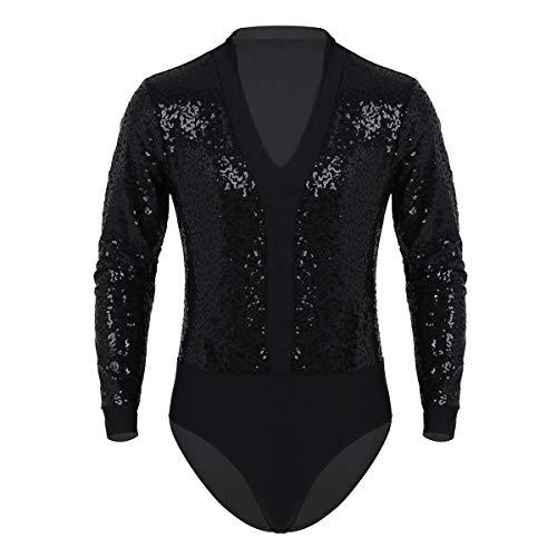 iiniim Herren Body V-Ausschnitt Langarm Shirt Ballett Trikot Tanz-Body Ballsaal Latin Tango Rumba Shirt Leotard Tops Overall Schwarz B L