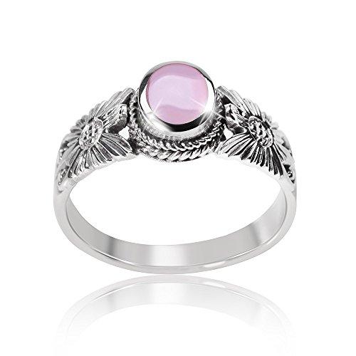 MATERIA 925 Sterling Silber Solitär Ring Blume PETALO - Perlmutt Ring antik rosa inkl. Schmuckbox #SR-76, Ringgrößen:51 (16.2 mm Ø)
