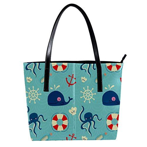LORVIES Schwimmring Compass Wales Octopus Schultertasche PU Leder und Handtaschen für Damen