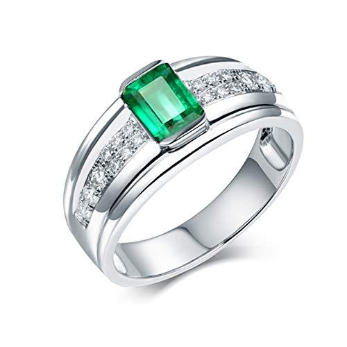 AnazoZ Anillos de Esmeraldas para Hombre,Anillo de Compromiso Oro Blanco 18 Kilates Plata Verde Rectángulo Esmeralda Verde 0.7ct Diamante 0.18ct Talla 20