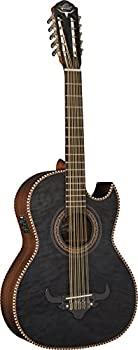 Oscar Schmidt 10 String OH32SE Acoustic-Electric Bajo Quinto with Deluxe Gig Bag Trans Right Quilt Black  OH32SEQTB-O