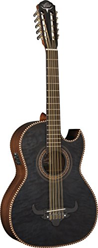 Oscar Schmidt 10 String OH32SE Acoustic-Electric Bajo Quinto with Deluxe Gig Bag Trans, Right, Quilt Black (OH32SEQTB-O)