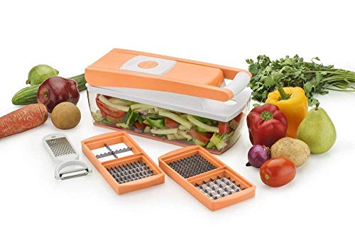 DRIFFIN 6 in 1 Slicer Dicer Plus 6 Pieces Grater Food-Chopper Multi-Cutter Slicer Peeler, Dicing Fruit, Vegetable Storage Container,Stainless Steel Blades for Slicer Dicer