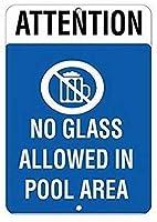 ナンシーグレートティンサインアルミニウムアテンションプールエリアスタイル2のガラスでは許可されていません屋外の屋内看板の壁の装飾