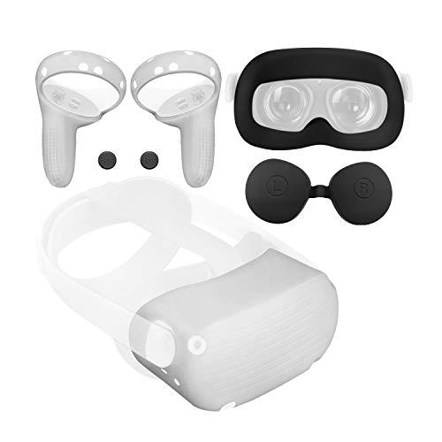 JSVER Silicona Cubierta Facial para Oculus Quest 2, Accesorios para Oculus Quest 2 Cover Protectora de VR Auriculares +Protector de Lente+Cubierta de Agarre del Controlador+Cubiertas de Botones 🔥