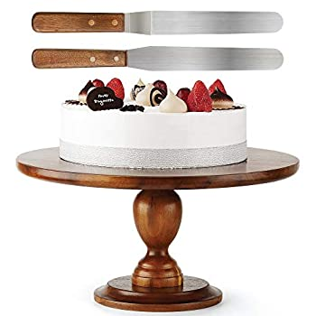 Wooden Cake Stand Acacia – 13 inch Cake Stand with 2 Icing Spatulas - Wedding and Birthday Cake Pedestal - 100% Natural Ideal for Use at Parties Weddings Restaurants – Very Stable  Walnut Color1