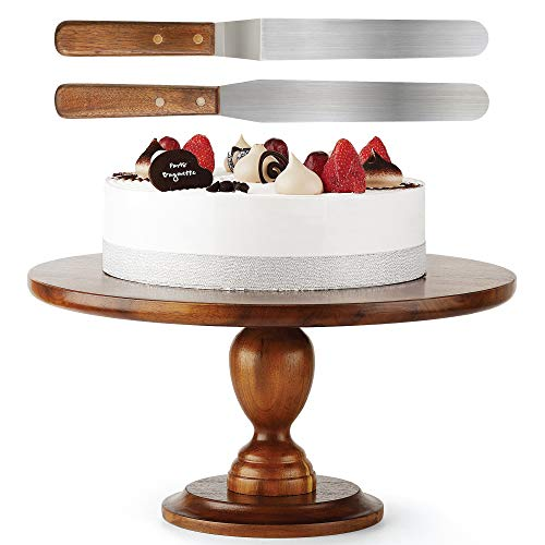 Wooden Cake Stand Acacia – 13 inch Cake Stand with 2 Icing Spatulas - Wedding and Birthday Cake Pedestal - 100% Natural ideal for Use at Parties, Weddings, Restaurants – Very Stable (Walnut Color1)