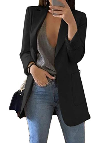 Generic Andongnywell Women's Solid Color Casual Long Sleeve Blazer Jacket Cardigan Work Blazer with Pockets Outwear (Black 1,XX-Large)