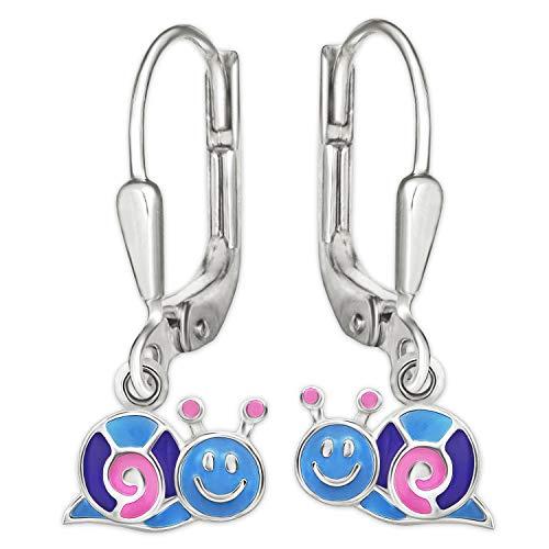 Clever Schmuck Silberne Mädchen Ohrringe Ohrhänger 19 mm kleine Schnecke 9 x 5 mm rosa lila hellblau lackiert glänzend STERLING SILBER 925