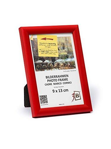 3B Marco de Fotos ULM 9x13 cm - Rojo - Marco de Madera, Foto, parojo y sobremesa con Vidrio de poliéster (lámina de plástico)