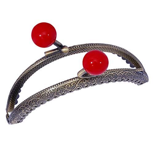 SUPVOX Monedero con Marco de Metal de 8.5 Cm Diy Craft Perla Beso Cierre de Broche Monedero con Forma de Arco de Medio Punto Monedero con Marco de Embrague para Bolso Monedero Rojo
