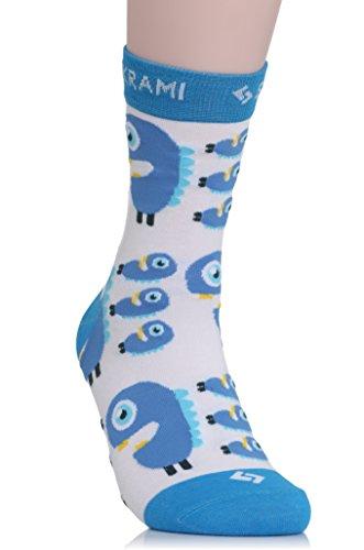 SUKRAMI Socken BEAST-3030 - Bunte, verrückte Damen- und Herrensocken mit Monstern- Gr. 41-47, Weiß, Blau
