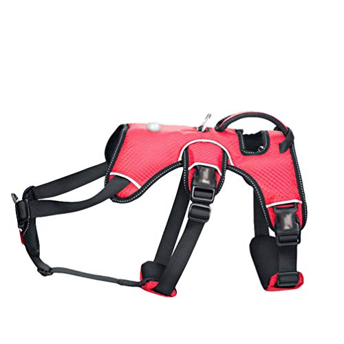 Yiqi Arnés de Perros Ajustable Chaleco Cómodo Transpirable Arnés Reflectante Control Fácil para Perro Mediano Grande (Rojo, Asia S)