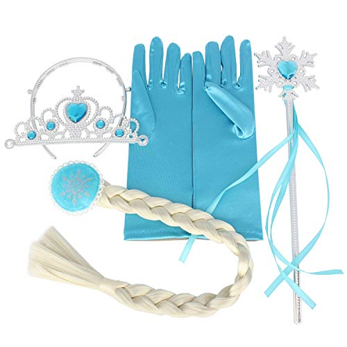 AiJump Princess Dress Up Accessoires met Tiara Crown Hoofdband Collier Oorbellen Strik Handschoenen Wand voor Meisjes Carnaval Halloween Cosplay Verjaardagscadeau