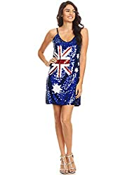 Australian Flag Spaghetti Strap Sleeveless Blue Sequin Dress