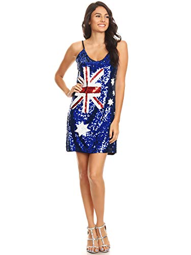 Anna-Kaci Womens Australian Flag Bodycon Spaghetti Strap Sleeveless Sequin Dress, Blue, Medium