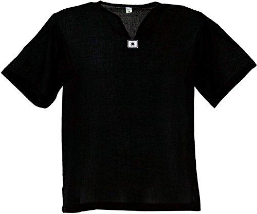 GURU SHOP Yoga Hemd, Goa Hemd, Kurzarm, Männerhemd, Baumwollhemd, Herren, Schwarz, Baumwolle, Size:M, Hemden Alternative Bekleidung