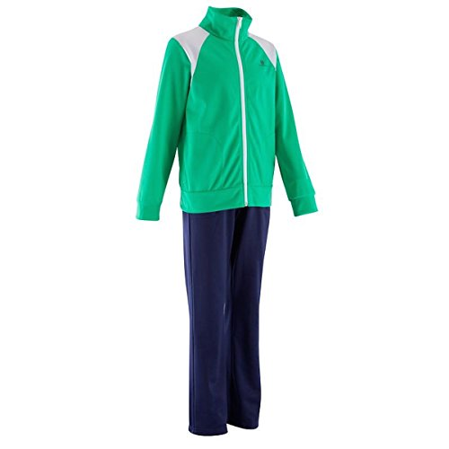 Domyos 217570 Jungen Trainingsanzug, Sports Training Suit Wear, Gruen/Navy (EU 164/12-14 Jahre / 153-162 cm)