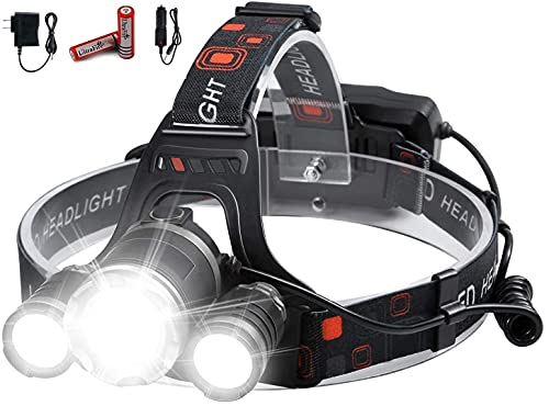 JAMUNESH ENTERPRISE Waterproof LED Rechargeable Headlamps Flashlight Torch with Rechargeable Battery (Set of 1) Black