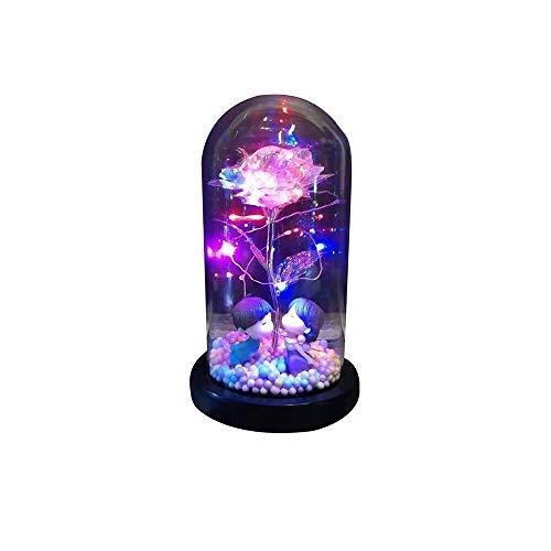 YanFeng Rosa de Seda roja y luz LED, lámpara de Rosa,LED con Pétalos Caídos,Kit de Rosas Luces LEDCúpula de Vidrio Rosa para Regalos de San Valentín LED Rosa lámparas Navidad,cumpleaños,Aniversario