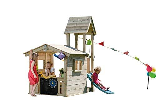 MASGAMES | Box per bambini Torre Lookout S | Casetta con Torre Allegata e Scivolo a 60 cm di altezza | Ancoraggi inclusi | Uso domestico |