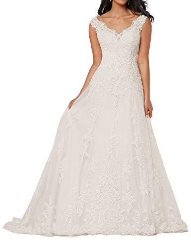 HUINI Damen Brautkleid Lang Spitzen Hochzeitskleider A-Linie Ärmellos Brautmode Vintage V-Ausschnitt Standesamtkleider Elfenbein 58