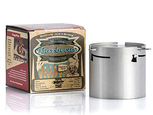 Axtschlag Räucherbox Smoker Cup, für Räuchermehl und Räucherchips in Kohle-, Gas- und Elektrogrills, extra starker Edelstahl, inkl. Deckel, 90 x 80 mm