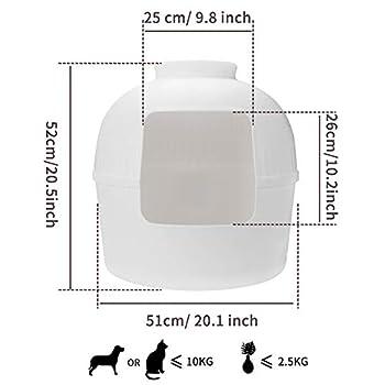 BingoPaw Bac à Litière pour Chat: Maison de Toilette Chat Lapin Décoratif Grande Taille 51x51x52cm avec Lavabo et Sacs à Ordures (Blanc)