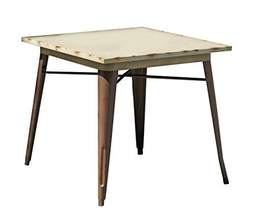PEGANE Table en Acier Coloris Vieilli rouillé - Dim : 80 x 80 x 75cm